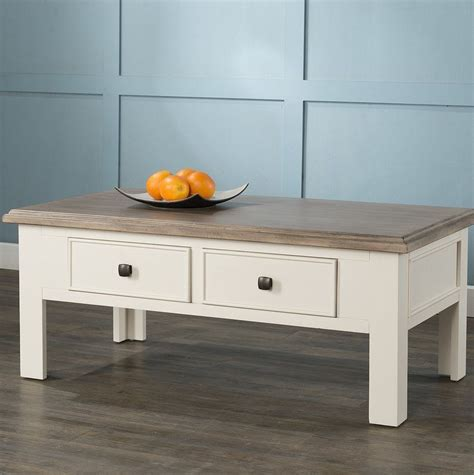 Solid wood open coffee table mango wood table casa bella for size 1200 x 943. 2 Drawer Coffee Table Storage Ash Top White Wooden Frame Living Room Furniture | Coffee table ...