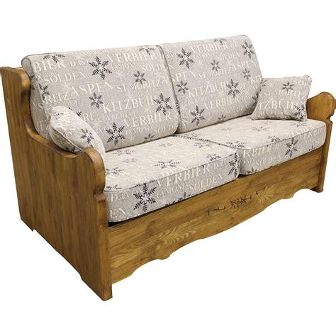 canapé en bois canapé yret convertible en bois patiné bed express