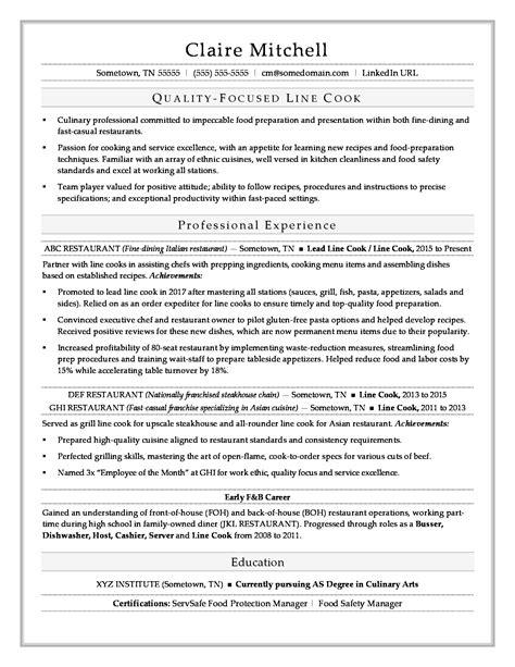 line cook resume sle monster com