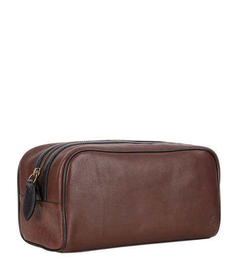 waish bag polos polo ralph leather wash bag in brown for lyst