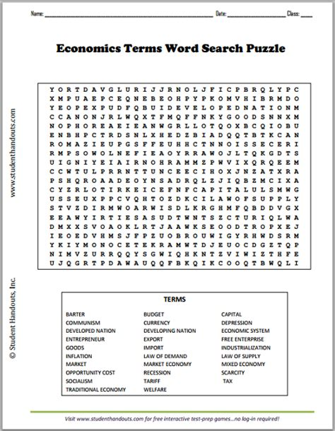 economics terms word search puzzle student handouts