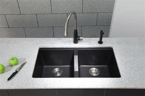 black granite kitchen sink kraus kgu 434b undermount double bowl black onyx granite