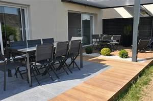 terrasse bois et carrelage dj creation maison With superb amenagement terrasse piscine exterieure 0 creation et amenagement de terrasse en bois paysagiste