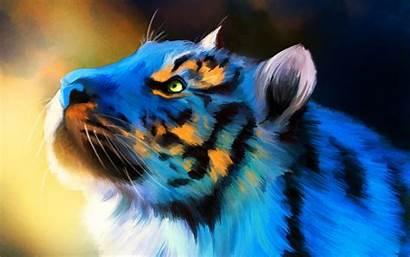Tigre Hipster Tiger Azul Wallpapers Pintado Fondo