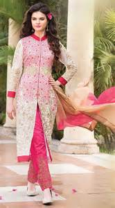 royal blue wedding ideas stylish white and pink georgette parallel pant suit which is ornamented with zari resham