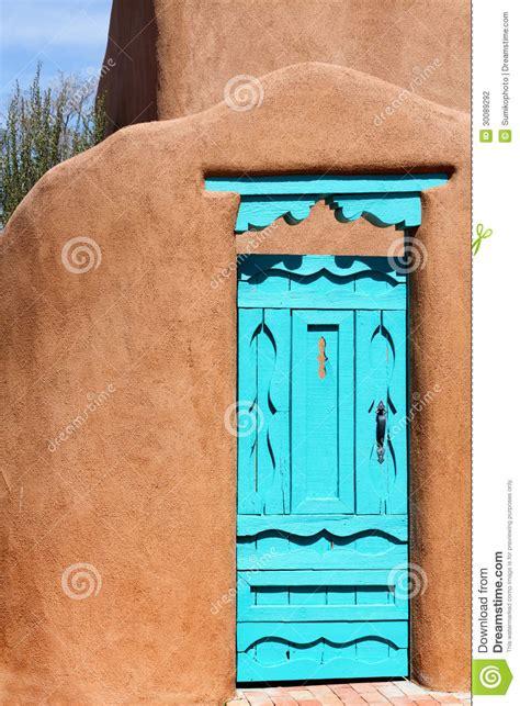 southwestern blue door stock photo image  construction