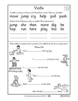 st grade kindergarten reading writing worksheets verbs