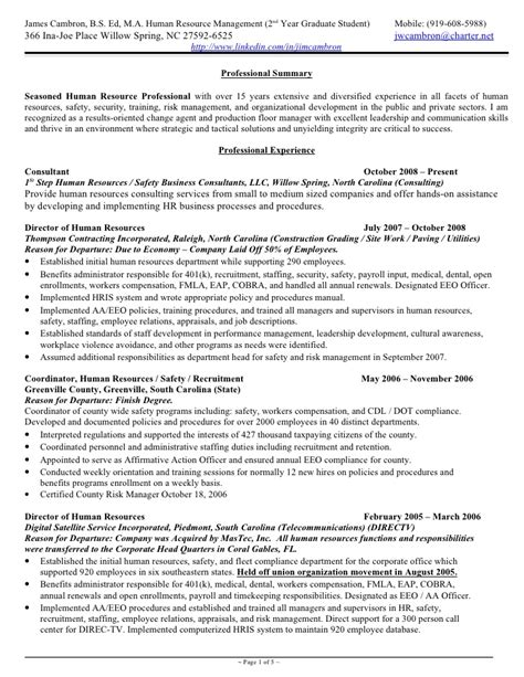 Hr Generalist Cv Sles by Cambron Resume Hr Generalist 15 Plus Yrs Exp 2010