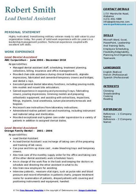 Dental Assistant Resume by Lead Dental Assistant Resume Sles Qwikresume