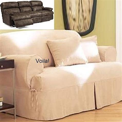 slipcovers for reclining sofas reclining sofa t cushion slipcover ivory heavy suede
