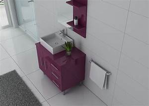 Meuble Pour Petite Salle De Bain : meuble 1 vasque aubergine meuble de salle de bain couleur aubergine ref florence au ~ Melissatoandfro.com Idées de Décoration