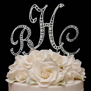lavish vintage elegance rhinestone monogram cake topper With wedding cakes with letter toppers