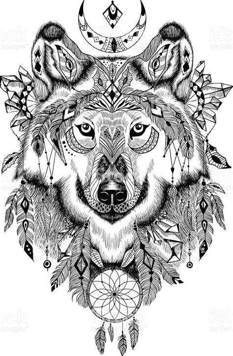 Tattoo Trends - Detailed Wolf in aztec-boho style. May be