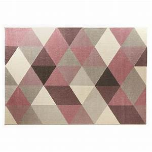 tapis design style scandinave rectangulaire geo 230cm x With tapis rose gris