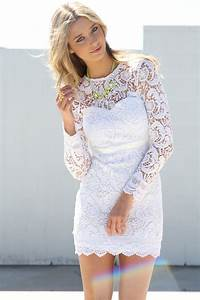 Short white wedding dress with long sleeves hair down i for Short white wedding dress with sleeves