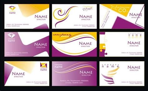 purple business card template vector  vector