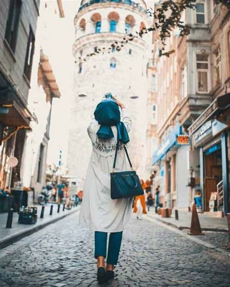 hijaby fashion wear blue outfit beautiful picture