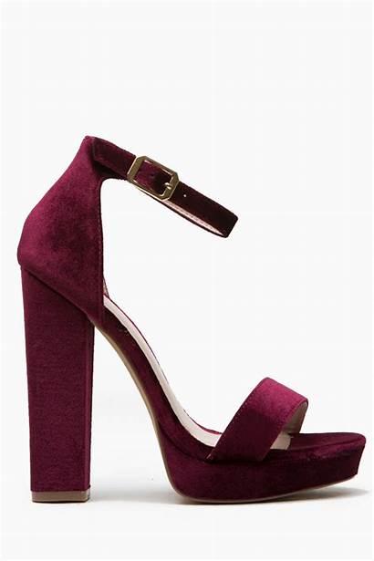 Heels Wine Velvet Shoes Strap Ankle Platform