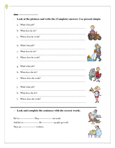 330 free and professions worksheets