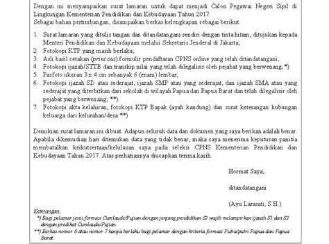 Contoh Surat Lamaran Kemdikbud by Contoh Surat Lamaran Cpns 2017 Periode 2 Kumpulan Warga