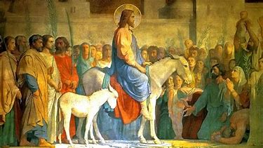 Image result for images jesus entering jerusalem on an ass