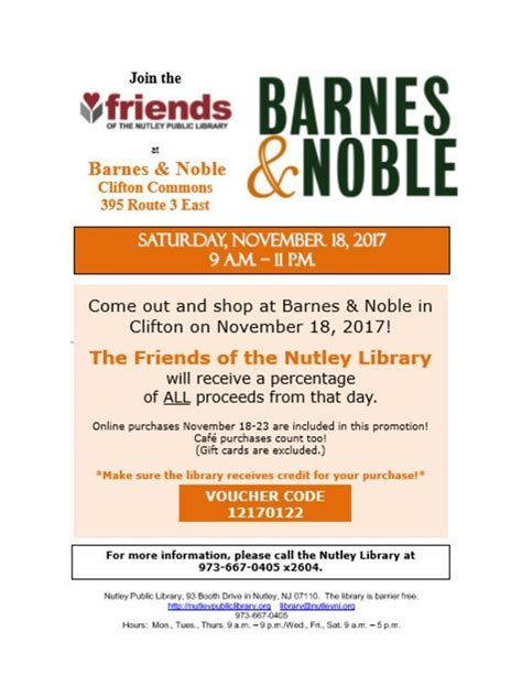 barnes and noble ta shop at barnes noble clifton to benefit friends of the