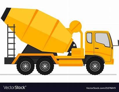 Truck Concrete Cement Side Mixer Vector Icon