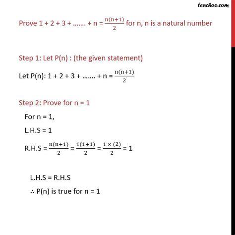 Prove 1 + 2 + 3  + N = N(n+1)2  Mathematical Induction