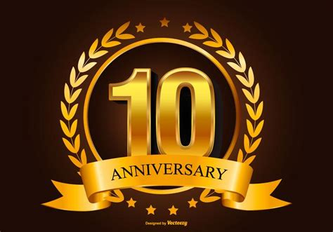 tenth anniversary golden 10th anniversary illustration download free vector art stock graphics images