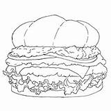 Burger Coloring Chicken Cheeseburger Printable sketch template