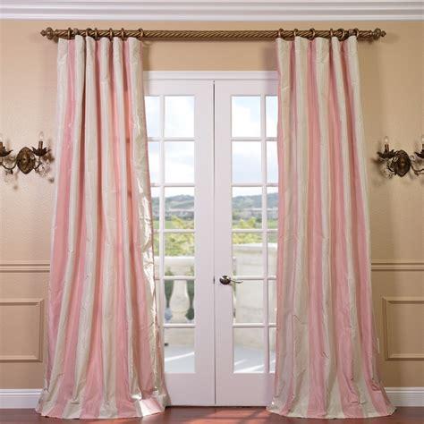 light pink stripe faux silk taffeta 96 inch curtain