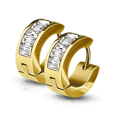 gold plated  surgical steel rectangle crystal hinged huggie