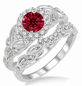 125 carat ruby diamond vintage floral bridal set With diamond and ruby wedding ring sets