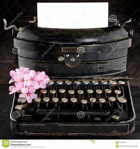 Old Antique Black Vintage Typewriter With Flowers Stock ...