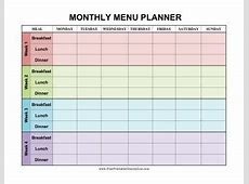 Monthly Meal Planner Printable listmachineprocom