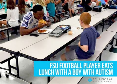 FSU Football Player Eats Lunch With A Boy With Autism.