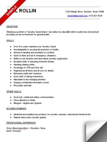 resume for security guard position 1000 images about resume exles on resume sales resume and engineers