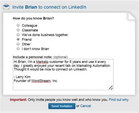 are you boring linkedin contacts with this dull request