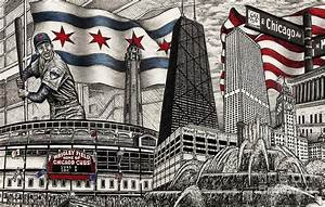 Chicago Cubs, Ernie Banks, Wrigley Field Drawing by Omoro