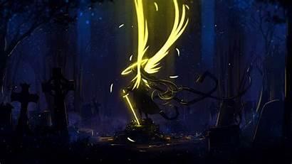 Wings Angel Dark Yellow Sword Background Laptop
