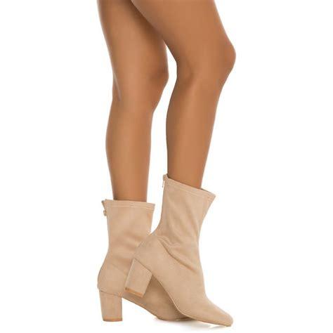 Womens Camy 4s Mid Calf Low Heel Boot Nude