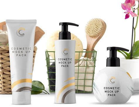 A free demo mockup showing different cosmetics products. Collection of Cosmetics Packaging Mockups | Mockup World