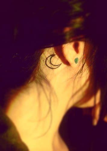 crescent moon tattoo   ear tattoos  piercings pinterest