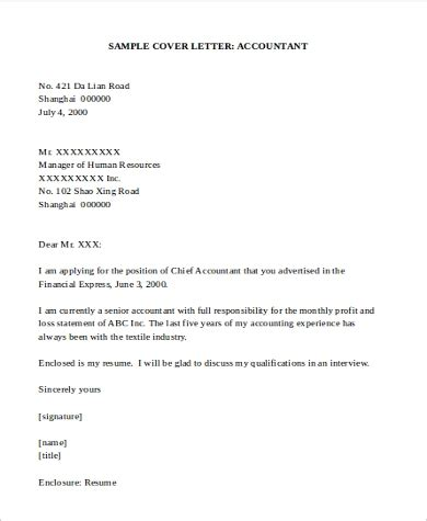 sample accounting cover letter templates