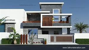 3D Front Elevation com: 10 Marla Contemporary House Design