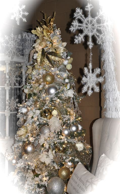 silver and gold christmas tree holiday decor pinterest
