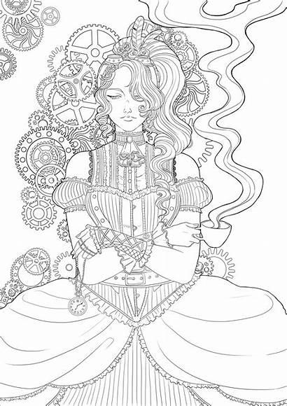 Coloring Steampunk Adults Woman Coffee Colorare Colorear