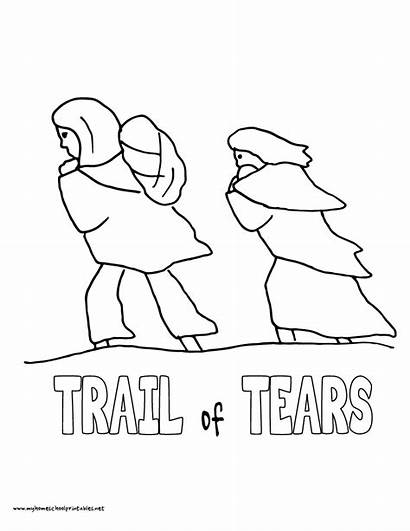 Tears Trail Coloring Pages Drawing History Indians