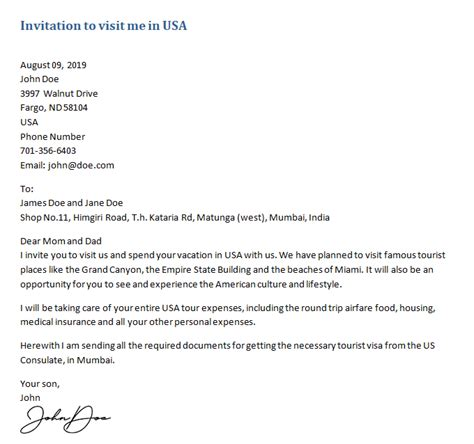 invitation letter   visa sample letters