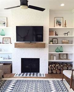 Fascinating Living Room Shelf Decor Wall White Brick Wall ...